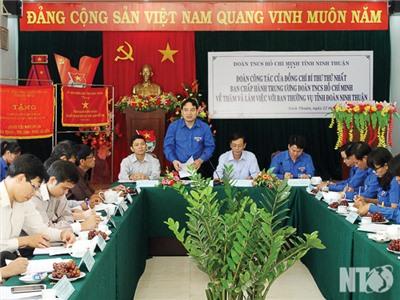 Bí thư thứ nhất BCH Trung ương Đoàn Nguyễn Đắc Vinh làm việc với Ban Thường vụ Tỉnh đoàn