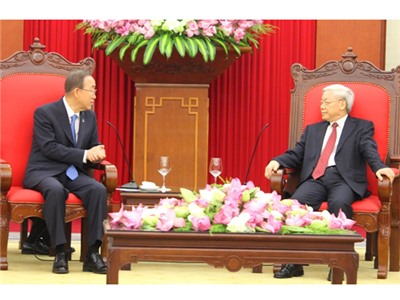 Tổng Bí thư tiếp Tổng Thư ký Liên hợp quốc Ban Ki-mun