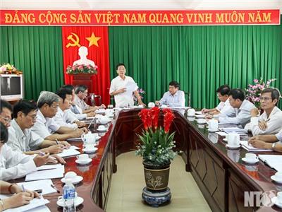 Đồng chí Nguyễn Xuân Thủy, Thường trực Tỉnh ủy làm việc với Huyện ủy các huyện Thuận Bắc và Ninh Hải
