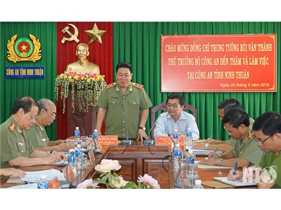 Trung tướng Bùi Văn Thành, Thứ trưởng Bộ Công an thăm, làm việc tại Công an Ninh Thuận