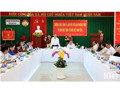 Đồng chí Nguyễn Bắc Việt, Phó Bí thư Thường trực Tỉnh ủy làm việc với Ủy ban MTTQVN tỉnh