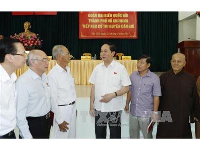 Chủ tịch nước tiếp xúc cử tri huyện Cần Giờ, TPHCM