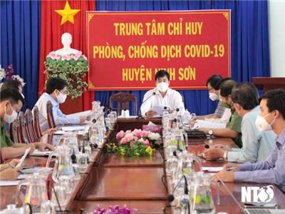 Đồng chí Nguyễn Long Biên, UVTV Tỉnh ủy, Phó Chủ tịch UBND tỉnh làm việc với huyện Ninh Sơn về công tác phòng, chống dịch COVID-19